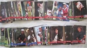 Partial set of 131 autographed 1992 Pro Set PGA Tour golf cards Bob Charles Fred Couples Nick Faldo Bernhard Langer Sandy Lyle Jose Maria Olazabal Gary Player Vijay Singh Ian Woosnam