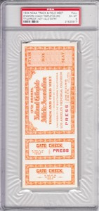 1934 NCAA Track & Field Championships full ticket PSA graded 6 ExMt (Dink Templeton & Stanford Win)
