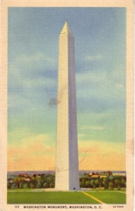 1938 Washington Monument postcard