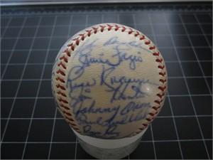1966 Kansas City Athletics team autographed AL baseball (Luke Appling Bert Campaneris Alvin Dark Catfish Hunter)