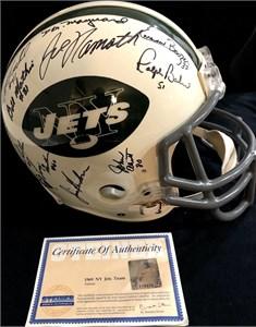 1968 New York Jets Super Bowl III Champion Team autographed full size game model helmet (Joe Namath) Steiner