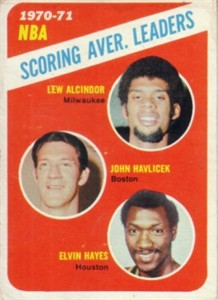 Lew Alcindor John Havlicek Elvin Hayes 1971-72 Topps Scoring Leaders basketball card