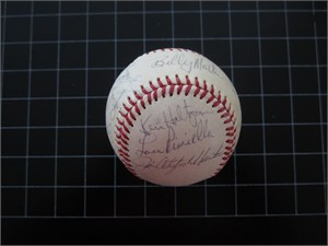 1976 New York Yankees American League Champions Team autographed baseball (Catfish Hunter Sparky Lyle Lou Piniella)