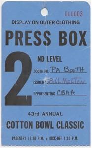 1979 Cotton Bowl press box pass Joe Montana Notre Dame Chicken Soup Game