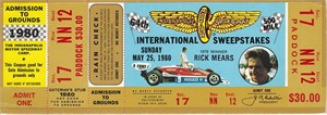1980 Indianapolis 500 full unused paddock ticket (Johnny Rutherford wins his 3rd Indy 500)