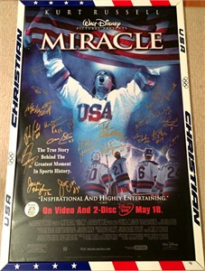 1980 Miracle on Ice USA Olympic Hockey Team autographed Miracle full size movie poster framed #50/140