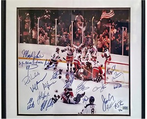 1980 Miracle on Ice USA Olympic Hockey Team autographed 16x20 photo inscribed matted & framed #4/40