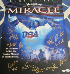 1980 Miracle On Ice USA Olympic Hockey Team autographed Miracle movie poster 16x20 photo JSA