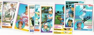 Lot of 12 autographed 1983 Topps baseball cards (Hubie Brooks Terry Francona Rich Gedman Jeff Reardon Frank Tanana)
