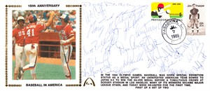 1984 USA Olympic Baseball Team autographed Gateway cachet envelope (Will Clark Rod Dedeaux Barry Larkin Mark McGwire B.J. Surhoff)