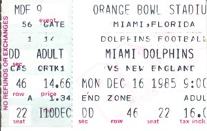 1985 Miami Dolphins vs. New England Patriots ticket stub (Dan Marino)