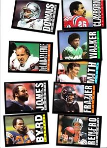 Lot of 9 1985 Topps Football blank back error cards (Joe DeLamielleure Ed Too Tall Jones)