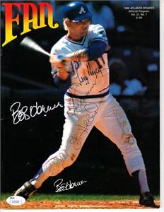 1986 Atlanta Braves autographed program Bob Horner Glenn Hubbard Ted Simmons Willie Stargell