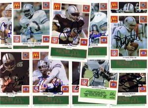 1986 Dallas Cowboys autographed McDonald's team card set (Tony Dorsett Herschel Walker Randy White)