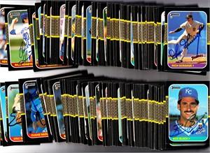 180 autographed 1987 Donruss baseball cards (Marty Barrett Bert Blyleven Ron Darling Eric Davis Glenn Davis Shawon Dunston Darrell Evans John Franco Goose Gossage)