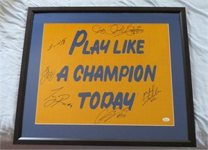 1988 Notre Dame National Champions autographed 16x20 print matted & framed JSA (Lou Holtz Rocket Ismail Ricky Watters)