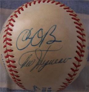 1989 Milwaukee Brewers autographed AL baseball (Ted Higuera Dan Plesac)