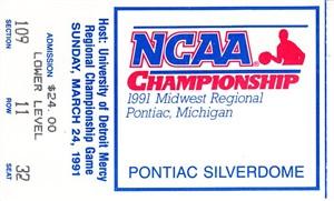 1991 NCAA Tournament Midwest Regional Final ticket stub (Duke advances to Final 4)