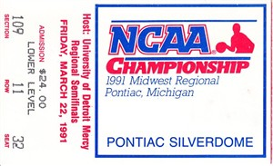 1991 NCAA Tournament Midwest Regional Semifinals ticket stub (Duke wins)