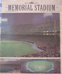 Orioles 1991 Memorial Stadium Baltimore Sun commemorative newspaper