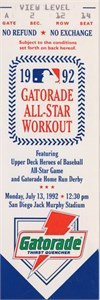 1992 MLB All-Star Workout Day & Home Run Derby full unused ticket (Mark McGwire winner)