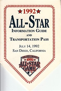 1992 MLB All-Star Game Information Guide & Transportation Pass