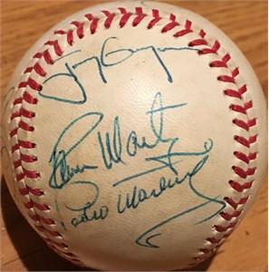 1992 Oakland A's & All-Stars autographed NL baseball (Dennis Eckersley Tony Gwynn Tony LaRussa Pedro Martinez)