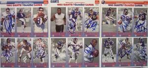 1993 New York Giants team autographed McDonald's GameDay card sheet set (Carl Banks Rodney Hampton David Meggett Phil Simms)