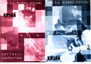1995 U.S. Olympic Festival softball set of 2 pocket rosters (Lisa Fernandez Dot Richardson)