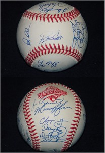 1996 Atlanta Braves team autographed World Series baseball (Bobby Cox Tom Glavine Chipper Jones John Smoltz)