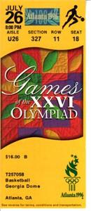 1996 Atlanta Olympics basketball ticket stub Team USA 133 China 70 (Dream Team 3)