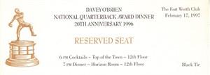 1996 Davey O'Brien National Quarterback Award Dinner ticket (Danny Wuerffel winner)