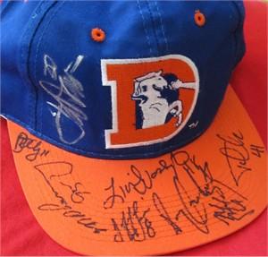 1996 Denver Broncos autographed cap or hat (Terrell Davis Ray Crockett Michael Dean Perry Lionel Washington)