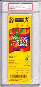1996 Atlanta Olympics Athletics full ticket PSA 6 (Michael Johnson & Carl Lewis win gold medals)