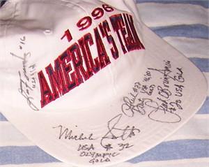 Lisa Fernandez Sheila Douty Leah O'Brien-Amico Michele Smith (softball) autographed 1996 U.S. Olympic cap or hat