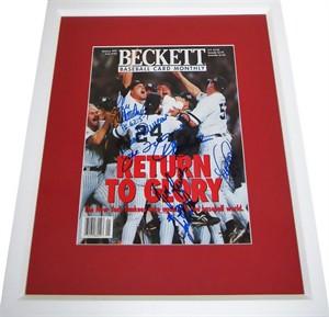1996 New York Yankees autographed World Series celebration magazine cover matted & framed (Derek Jeter Joe Torre John Wetteland)