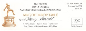 1997 Davey O'Brien National Quarterback Award Dinner ticket (Peyton Manning winner)