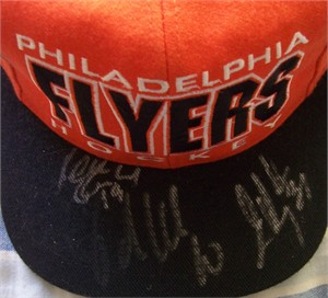 John LeClair Mikael Renberg Joel Otto Eric Desjardins autographed 1996-97 Philadelphia Flyers cap or hat