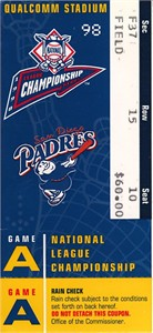 1998 NLCS Game 3 ticket stub (San Diego Padres 4, Atlanta Braves 1)