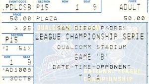 1998 NLCS Game 4 ticket stub (Atlanta Braves 8, San Diego Padres 3)