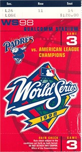 1998 World Series Game 3 ticket stub (New York Yankees over San Diego Padres)