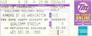 1999 Holiday Bowl game ticket stub (Kansas State 24 Washington 20)