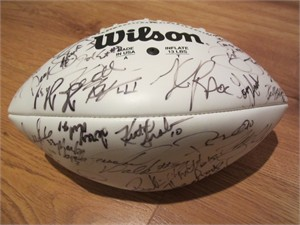 1999 NFL Players autographed football (Tiki Barber Tim Brown Marshall Faulk Daryl Johnston Andre Reed Thurman Thomas Herschel Walker Rod Woodson)