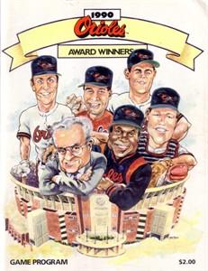 1990 Baltimore Orioles program (Cal Ripken Frank Robinson)