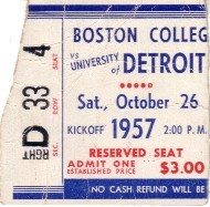 1957 Boston College at Detroit college football ticket stub