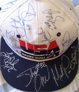 1994 USA Dream Team 2 autographed cap (Reggie Miller Alonzo Mourning Shaquille O'Neal Isiah Thomas Dominique Wilkins)
