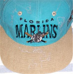 1997 Florida Marlins World Series Champions autographed cap Bobby Bonilla Luis Castillo Alex Fernandez Jim Leyland Devon White