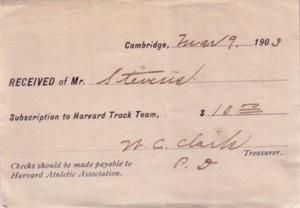 1903 Harvard Track Team ticket receipt