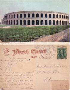 1909 Harvard Football Stadium postcard