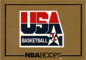 1991-92 Hoops USA Basketball gold logo insert card